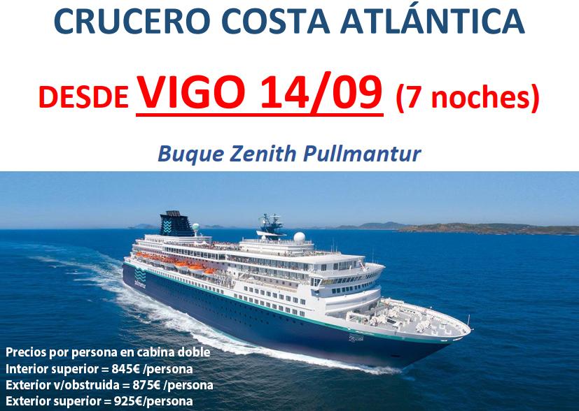 Crucero Costa Atlántica. Vigo a Barcelona. Salida 14 de septiembre de 2019.
