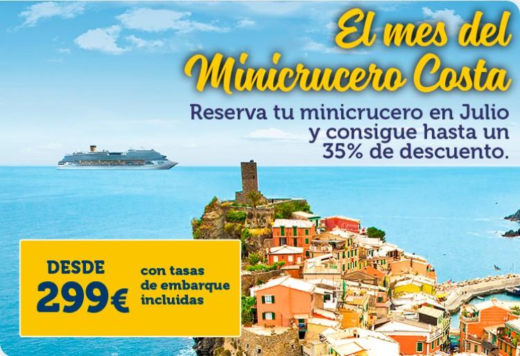 Oferta Minicrucero Costa. 35% de descuento si lo reservas durante Julio y Agosto.