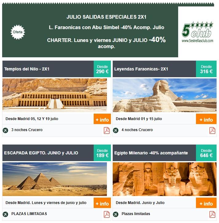Salidas Especiales, 2x1 vacaciones julio 2019 en Egipto.